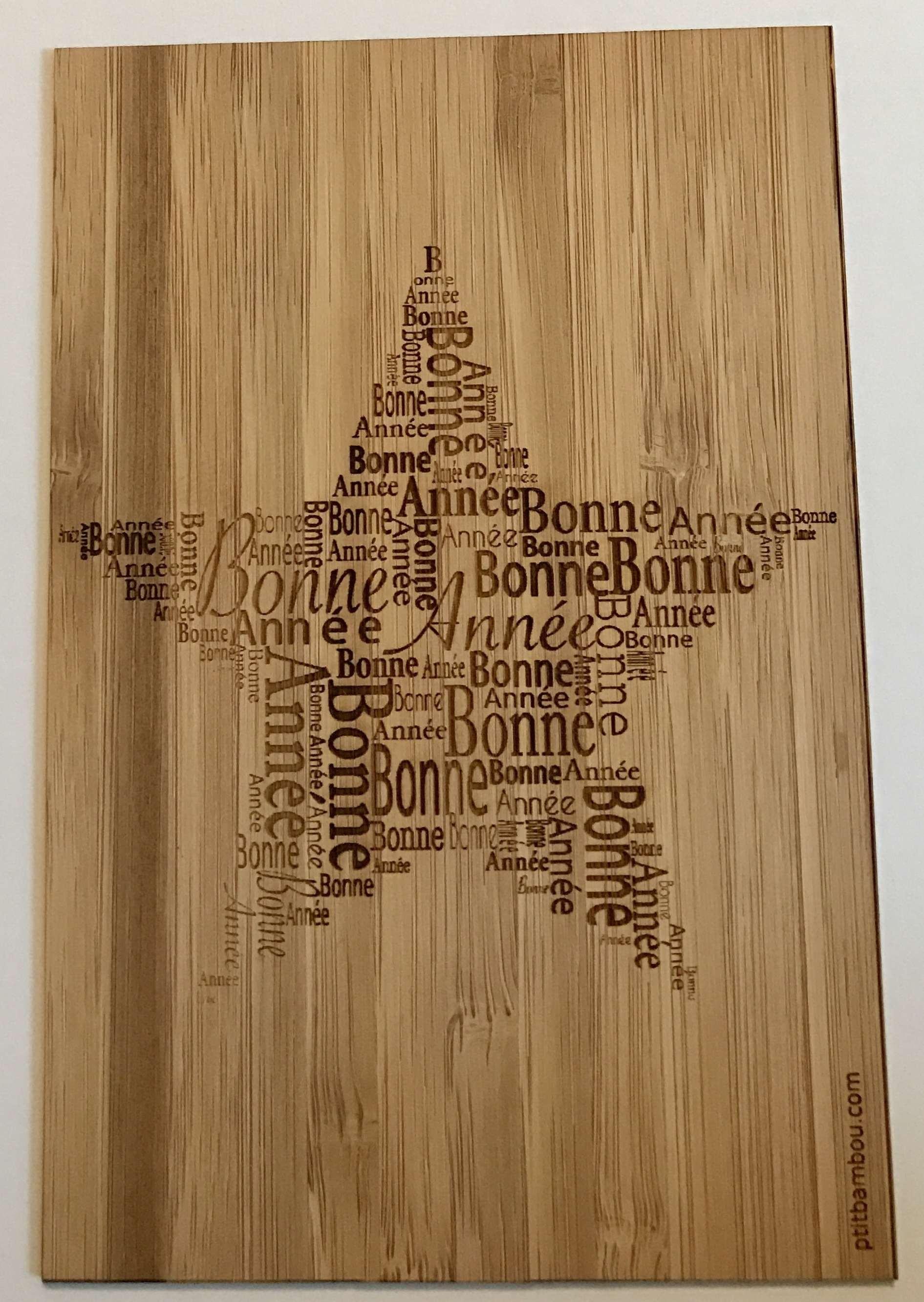 Carte en bois Bonne Année Etoile