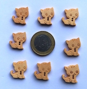 boutons en bois naturel chatons