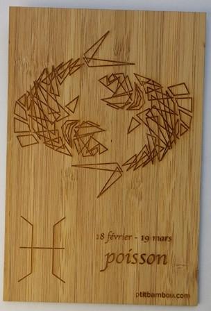 carte en bois gravée zodiaque poisson