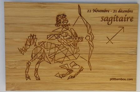 carte postale en bois zodiaque sagitaire