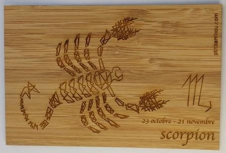 carte en bois zodiaque scorpion