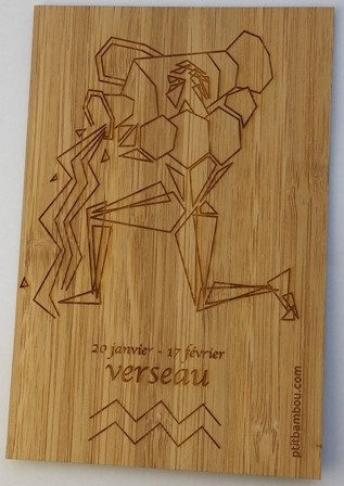 carte postale en bois gravé verseau