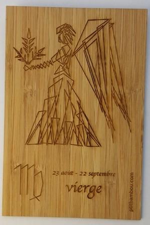 carte postale en bois gravée zodiaque vierge