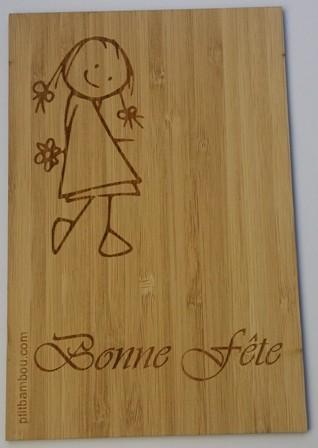 carte en bois bonne fete Fillette