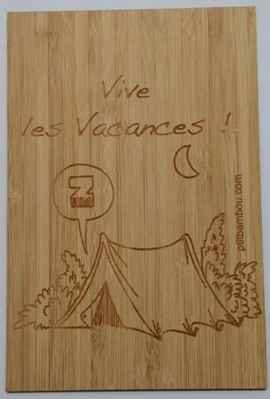 carte en bois Vive les Vacances
