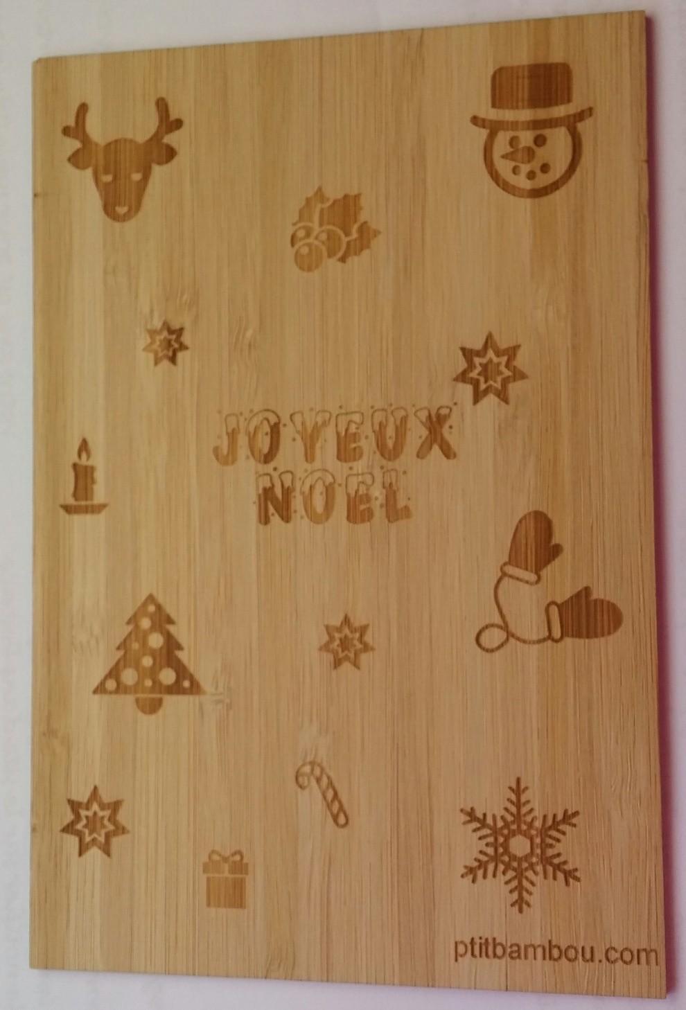 carte en bois joyeux noel multi