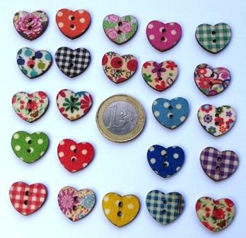 boutons en bois coeur