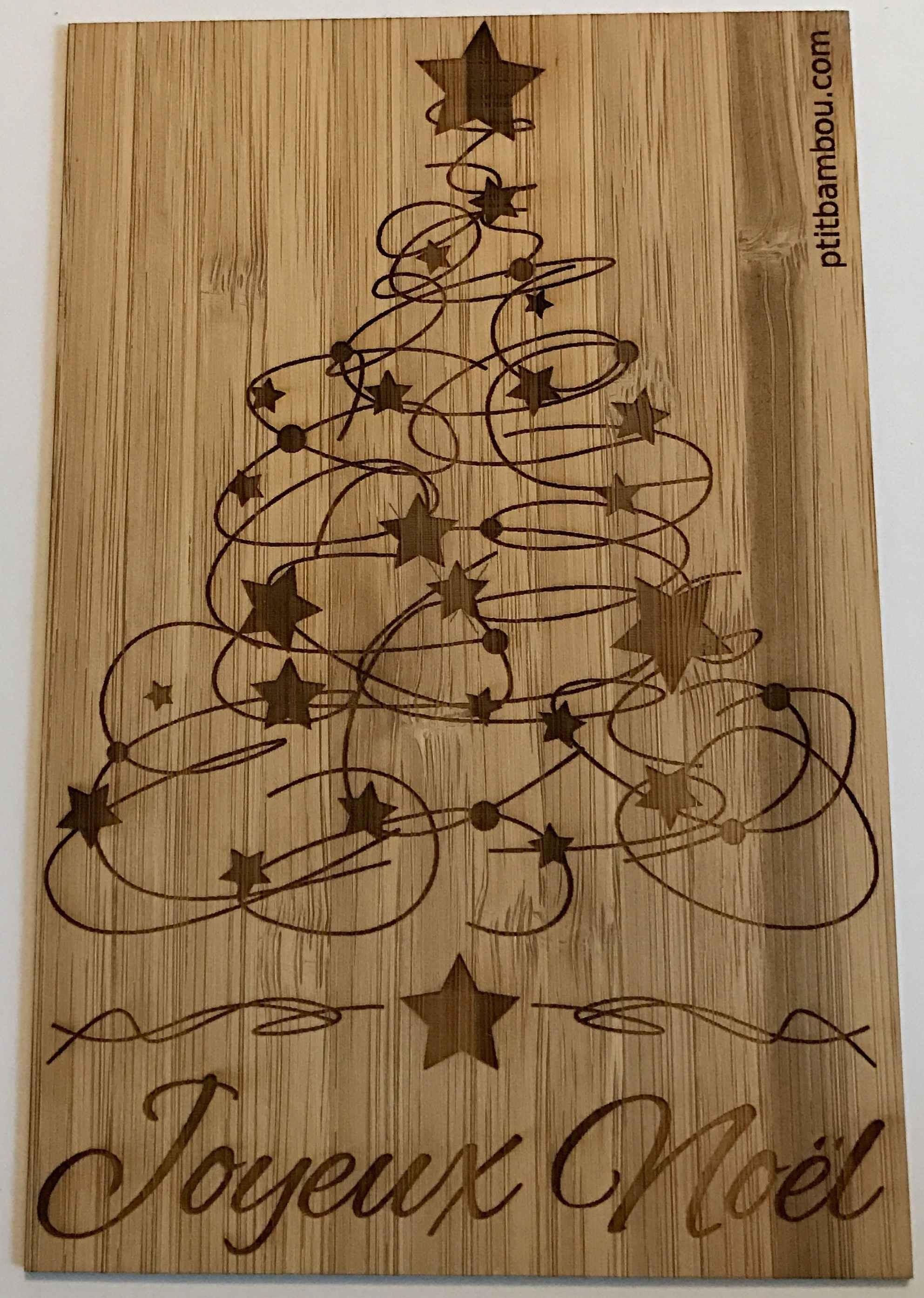 Carte en bois Joyeux Noel Sapin