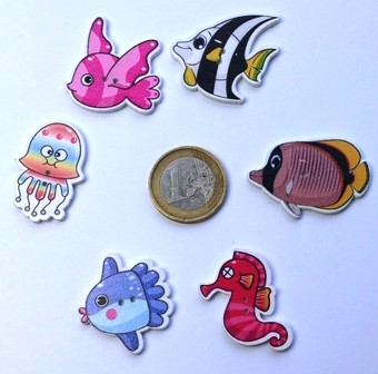 boutons en bois poissons