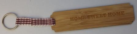 porte clés en bambou HOME SWEET HOME