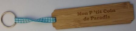 porte clés en bambou MON P'TIT COIN DE PARADIS