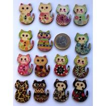 boutons en bois chats multicolores