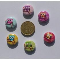 boutons en bois chouettes