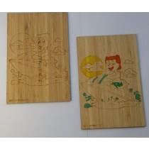 carte en bois gravée a colorier