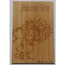Carte en bois Bonne Fete Bouquet