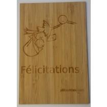 carte en bois Félicitations Bébé Cigogne