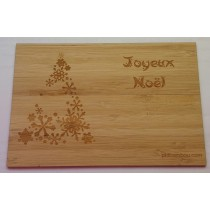 carte en bois joyeux noel sapin flocons