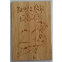 CARTE EN BOIS BONNE FETE MAMAN COEUR ET FLEUR