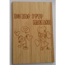 carte en bois bonne fête maman