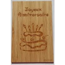 carte en bois joyeux anniversaire gâteau