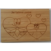 carte en bois je t'aime papa coeurs