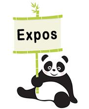 panda avec pancarte expo